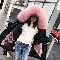 Genuine Fox Fur Liner Thick Warm Winter Coats Outerwear Women Large Real Raccoon Dog Fur Collar