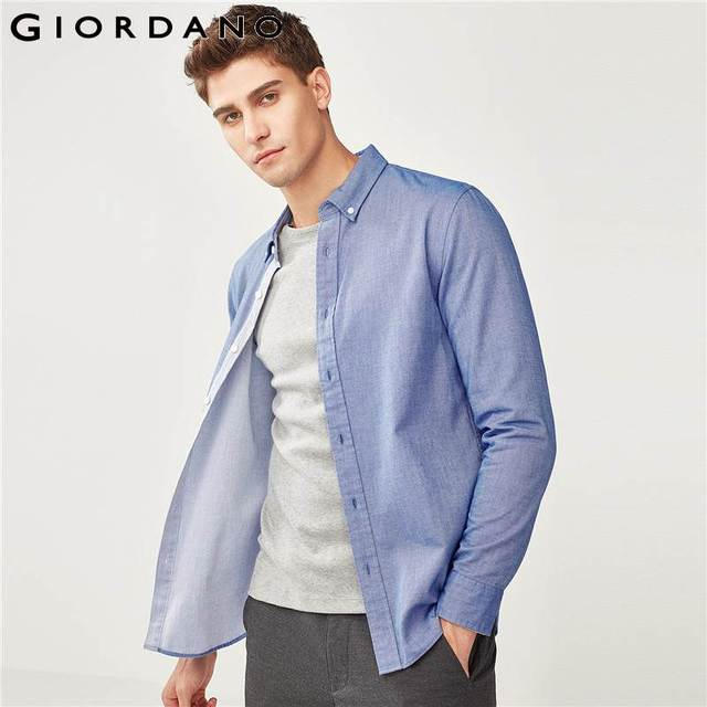 Giordano Men Slim Shirt Long Sleeve Shirts For Men 100% Cotton Interlock Shirt Men Casual Camisa Masculina Chemise Homme