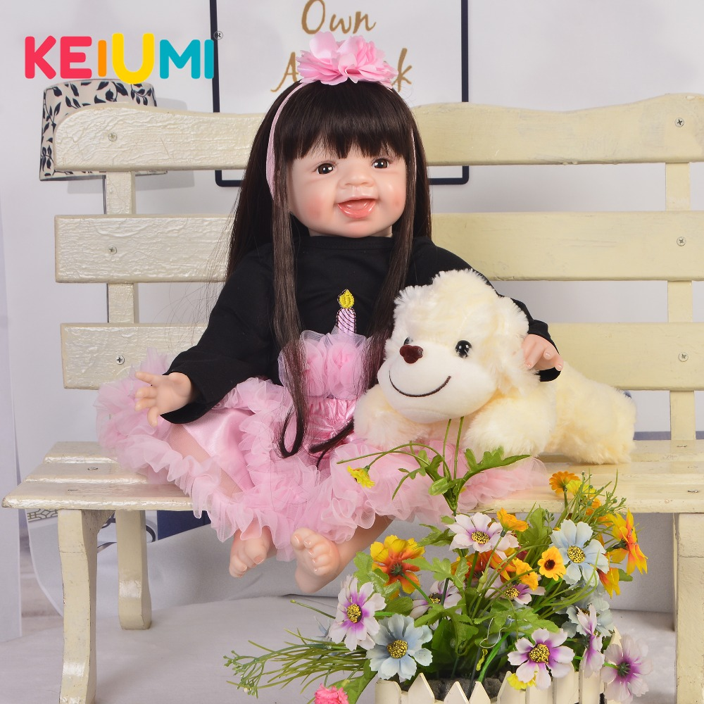 Lovely 22'' Reborn Baby Dolls Girl Soft Silicone Vinyl Body Handmade KEIUMI 55 cm Reborn Doll For kids Children's Day XMAS Gifts keiumi cute 22 dolls reborn babies girl soft silicone body lifelike newborn reborn boneca 55 cm baby doll for kids xmas gifts