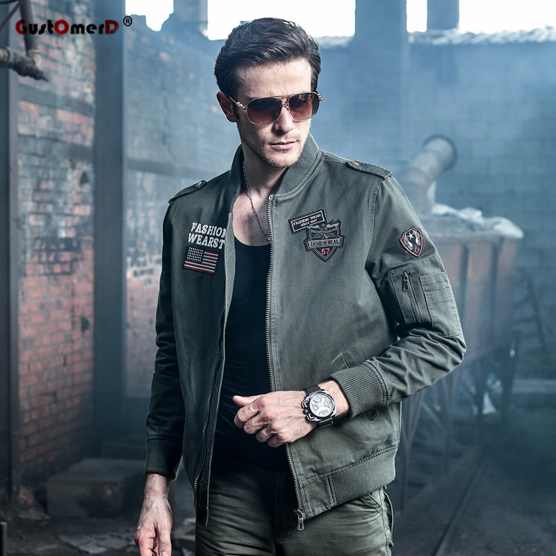 549a5a6888b5d GustOmerD Fashion New Men Military Army jackets Plus Size Appliques  Embroidery Mens Jacket Cotton Brand Clothes Casual Men Coats free shipping  worldwide