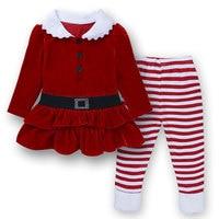 Wholesale Autumn Girls Boutique Christmas Outfits 2Pcs Red Corduroy Santa Claus Child Set Toddler Girl Clothes
