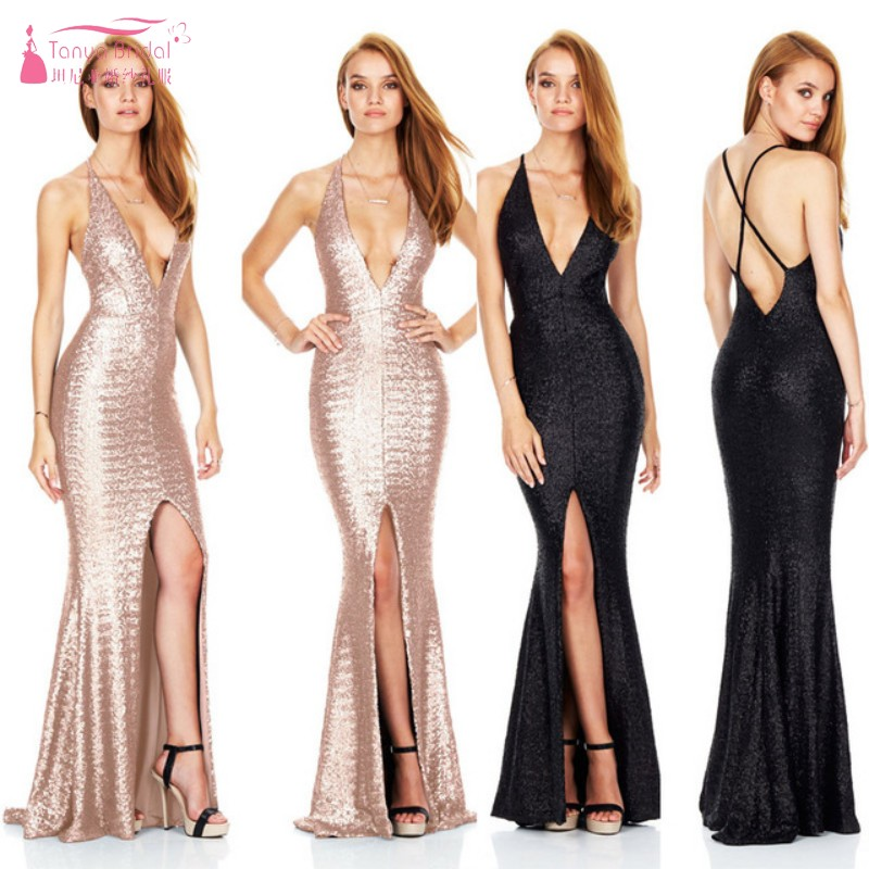 Black Gold Bridesmaid Dresses Sexy Slit Long Sequin Dress Robe Demoiselle D'honneur Wedding Guest Dress Gown For Party JQ38