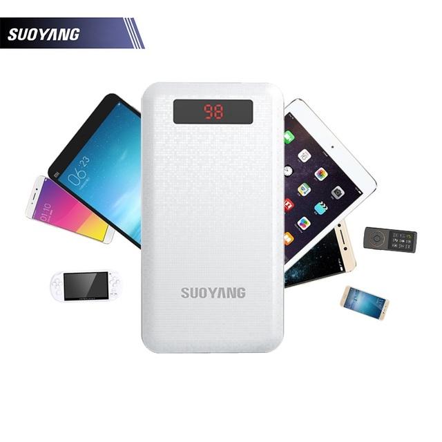 Suoyang mi banco externo de la batería banco de la energía 20000 mah 10000 mah cargador portátil powerbank 18650 para iphone xiaomi teléfonos android
