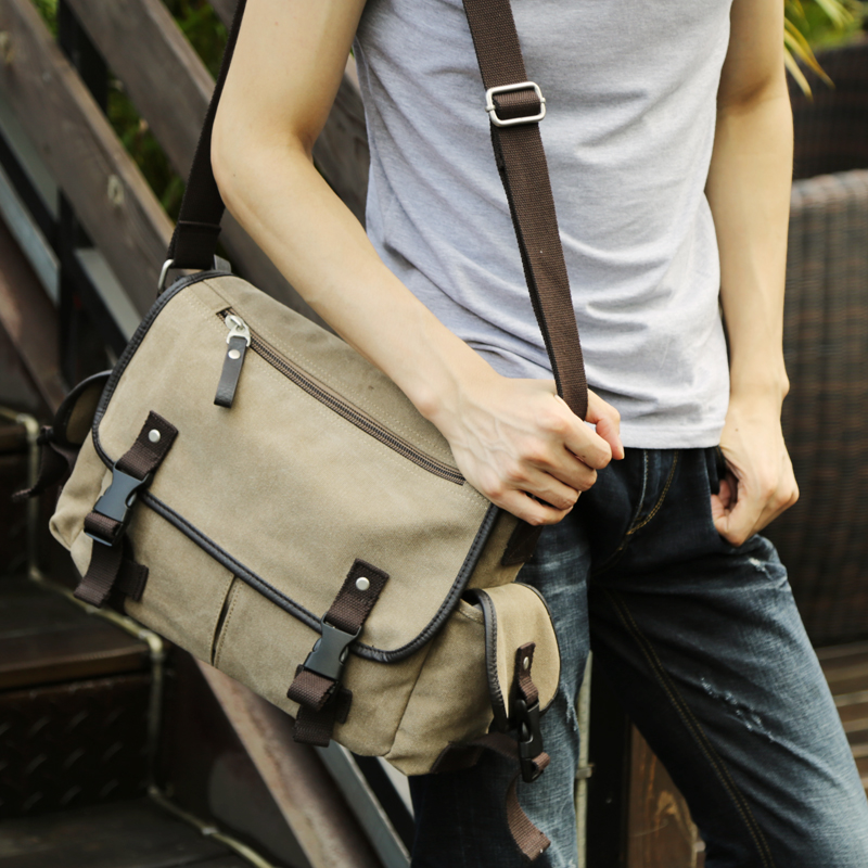 Men's Canvas School Shoulder Bag Vintage Satchel Young People's Fashion Messenger Bage 2 Colors Single-Shoulder Gag 2 Size