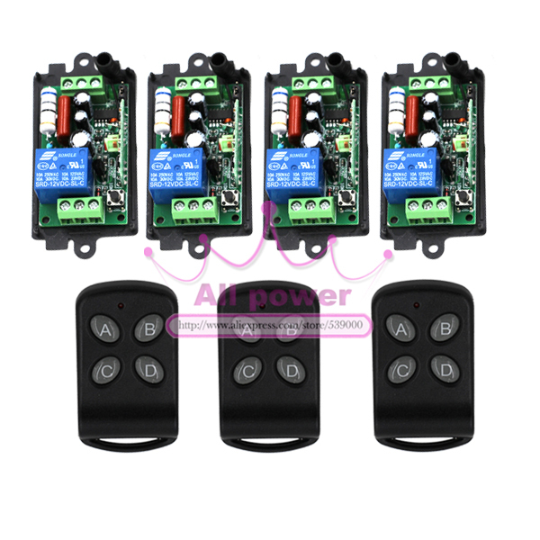 Wireless 4 Channels 220V Lamp Remote Control Switch Transmitter 1CH 4 Receiver & 3 Transmitter dc24v remote control switch system1receiver