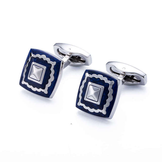 High Men's Cuff Link Square Silver Plating Blue Painting Shirt Cufflinks Mens Tie Clips 172c