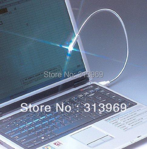 200pcs/lot Flexible LED Bright White USB snake mini light notebook laptop PC Night Reading lamp