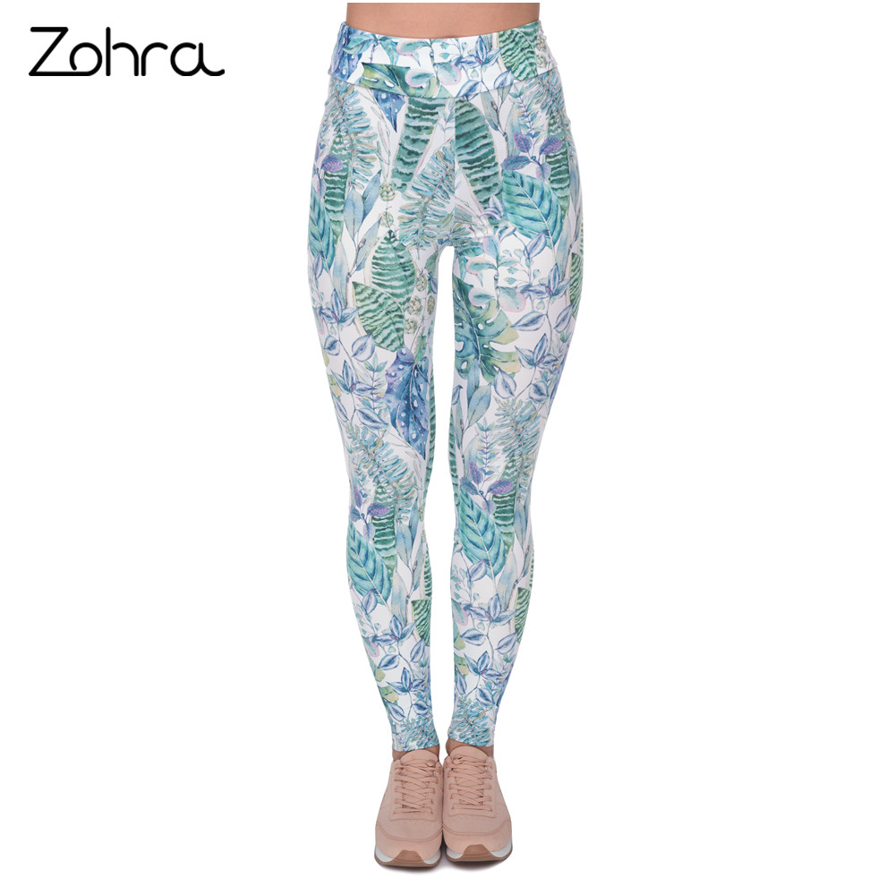 Zohra New Design Women High Waist   Legging   Monstera Jungle Printing Fashion   Leggings   Woman Pants
