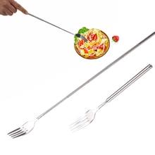 Stainless Steel BBQ Dinner Fruit Dessert Long Cutlery Forks Telescopic Extendable Fork Kitchen Tool J2Y