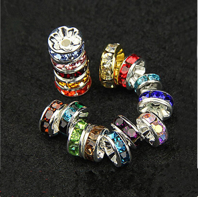 50pcs Diameter 6mm Silver Plated Rhinestone Rondelles Crystal Shamballa  Beads Loose Spacer Beads for DIY Jewelry Making Z105 c0423114612c
