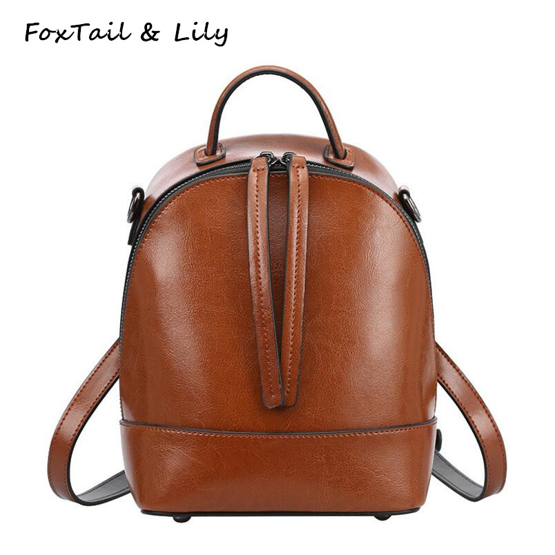 FoxTail Lily Vintage Small Shoulder Bag Genuine Leather Backpack Women Luxury Brand Fashion Schoolbag Female Travel