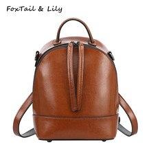 Лисохвост и Лили Vintage небольшая сумка натуральная кожа рюкзак женщины Элитный бренд мода школьный женские туристические рюкзаки