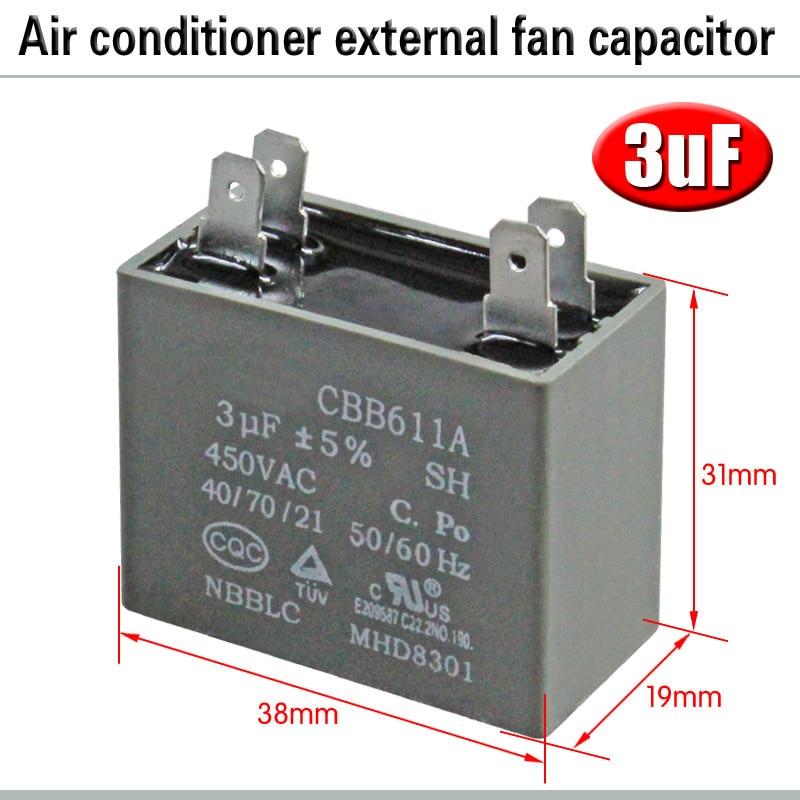CBB61 кондиционер наружный вентилятор стартовый конденсатор с алюминиевой крышкой, 1,5/2/2,5/3/3,5/4/5/6/8 мкФ 450 вольтным и конденсатор с алюминиевой крышкой 4 вставки электромагнитный пускатель - Цвет: 3uF