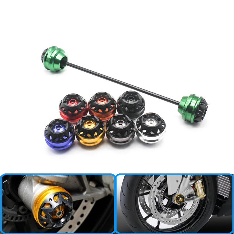 Motorcycle CNC Aluminum Front Axle Fork Crash Sliders Wheel For kawasaki ZX 10R 08 15 ZX 14R 11 15 ZZR1400 11 15 H2R