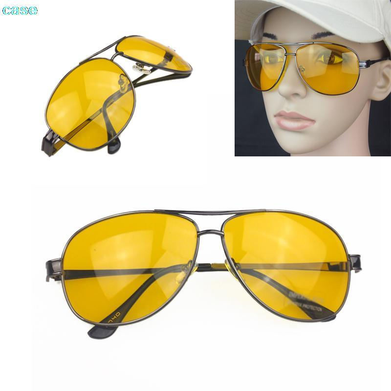 13f47f72f4 Fashion Vintage Driver HD High Definition Night Vision Sunglasses Yellow  Lens Sunglasses Gun Frame