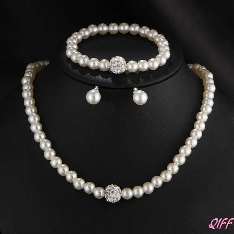 Womens Bride Wedding Jewelry Set Rhinestone Faux Pearl Necklace Bracelet Earring