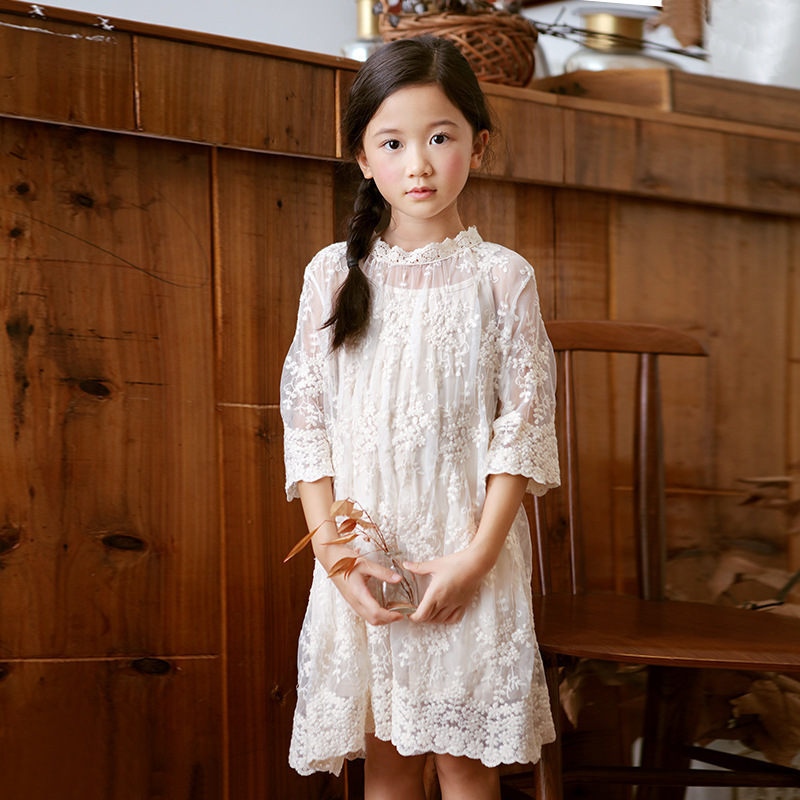 high quality girls summer dress children clothes 2018 kids girl dress with sleeve lace princess dress teens girl party dresses стоимость