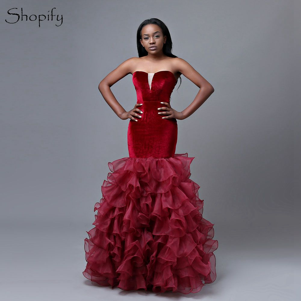Long   Prom     Dresses   Mermaid Style Sweetheart Velvet Burgundy Floor Length African Girl   Prom     Dress   2019