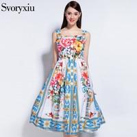 Runway Designer 2017 Summer Style Tank Dress Women S High Quality Harness Charming Flower Floral Print