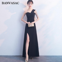 BANVASAC 2018 Sweetheart Satin Split Mermaid Long Evening Dresses Elegant Party One Shoulder Backless Prom Gowns