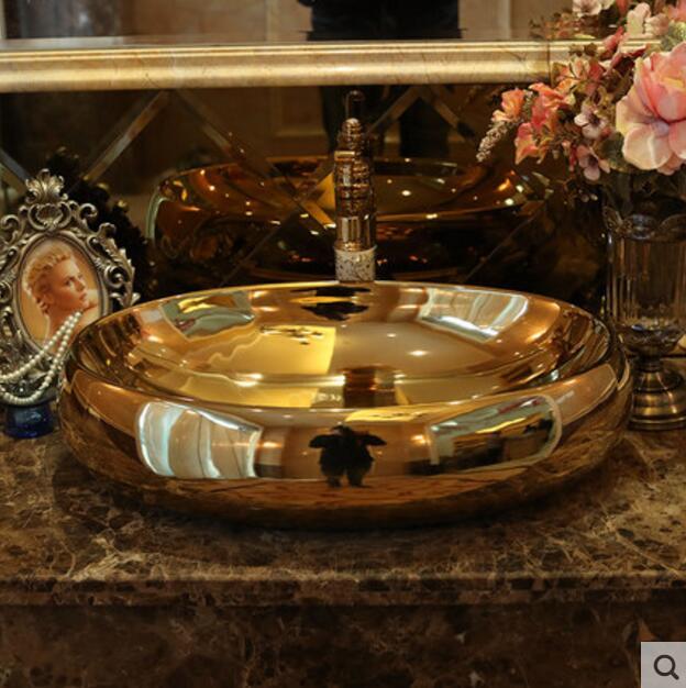 Ceramic circular art basin in Bathroom Accessories Sets from Home Garden