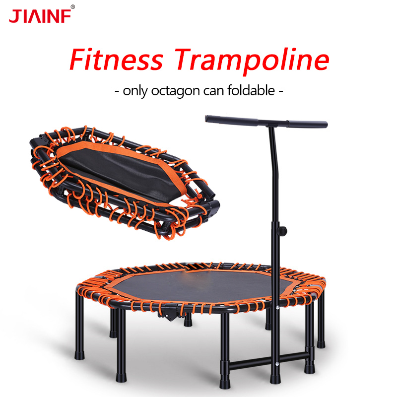 48inch Folding Trampolines With Adjustable Handrail Angle New Gym Fitness Trampoline for Kids Adults Indoor Sports Dropshipping