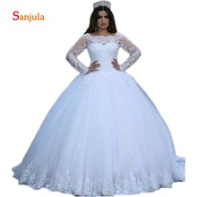 Sunzeus Scoop Ball Gown Wedding Dresses 2019 Long Sleeve