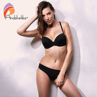 Andzhelika 2017 New Bikini Set Swimwear Women Sexy Solid Bikini Push Up Beach Swim Suit Bathing