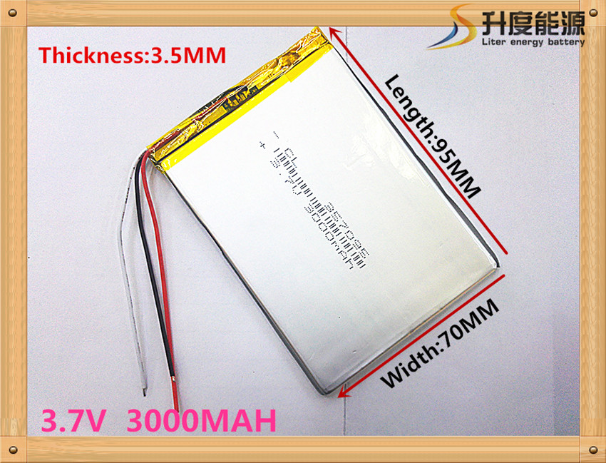 Three wire battery.3.7V 3000mah (polymer lithium ion battery) Li-ion battery for tablet pc 7 inch MP3 MP4 [357095]
