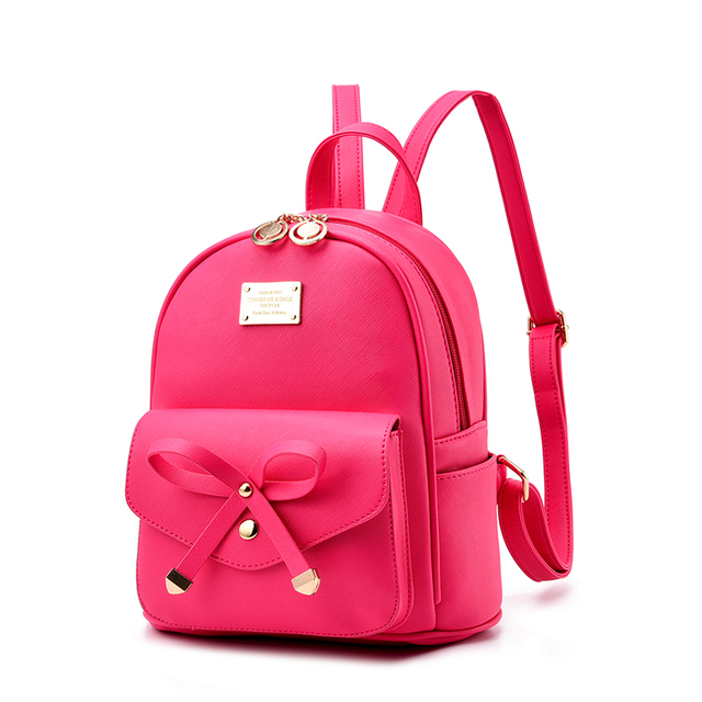 bd91ea7e96 2017 New bow Girl School Bags For Teenagers Women Small Backpack Black  Leather Women s Backpacks Fashion Female Backpacks
