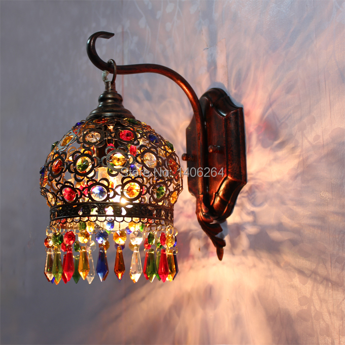 18CM Bohemian Style Red Bronze/Colour Crystal LED Wall lamp Vintage Wall Light Cafe Bar Store Hall Club Coffee Shop Lighting edison industrial vintage retro simple type flowers crystal glass droplight cafe bar club hall coffee shop bedroom bedside