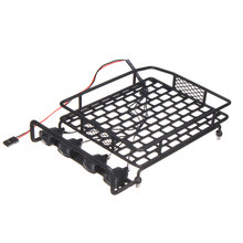 Roof Luggage Rack RC 1/10 LED Light Durable For Wrangler Tamiya CC01 CR01 SCX10  Car Styling jazrider steel luggage tray roof rack with light for 1 10 rc car truck tamiya axial