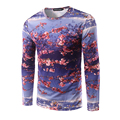 New Arrival Men's T-shirt Long Sleeve O Neck Men Printing Plum T Shirt High Quality Fitness Autumn wear Men Hip Hop Fashion Tees