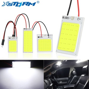 2Pcs Panel Led Dome Reading Light Map Lamp COB 18 24 36 48SMD Car Interior Lights Auto Bulb C5W Festoon BA9S T4W T10 Led Adapter