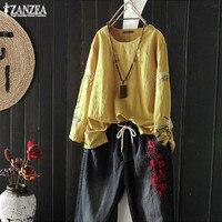 Fashion Embroidery Tops Women's Linen Blouse 2019 ZANZEA Casual Long Sleeve Tee Shirts Female O Neck Chemise Kaftan Woman Tunic
