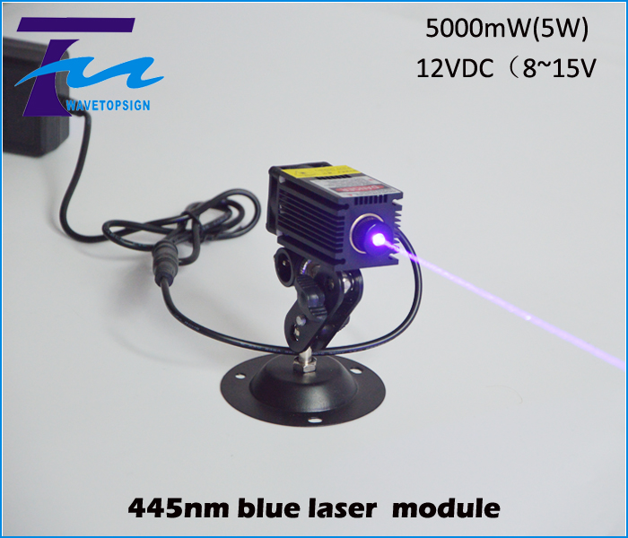 445nm blue laser module 5w 5000mw input dc 12v can work long time industrial use focus can been adjust With TTL / PWM control om zfv sc90 140605 industry industrial use automation plc module p v