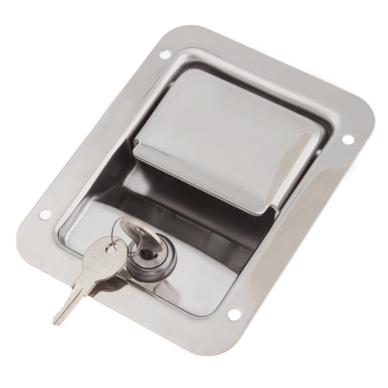 Image 3 - 1 Pcs 304 Stainless Steel Paddle Entry Door Lock Latch For Boat Marine RV Camper Etc Built in Spring 5.51″x4.25″ Panel Door Lock-in RV Parts & Accessories from Automobiles & Motorcycles