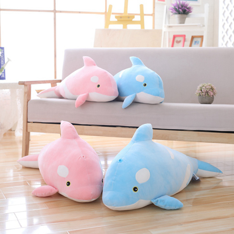 Cute Killer <font><b>Whale</b></font> Doll Pillow Marine Life <font><b>Blue</b></font>&Pink <font><b>Whale</b></font> <font><b>Plush</b></font> Toy Doll Shark Kids Boys Girls Birthday Gift Soft Kawaii Toys image