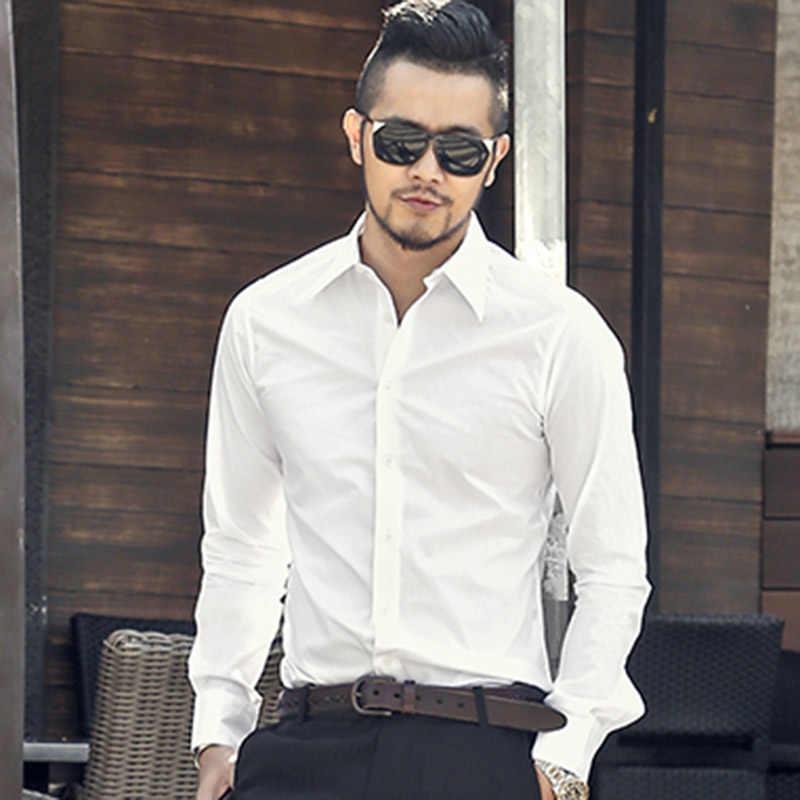 ニューイングランド男性の高級固体白シャツスリムフィットドレスシャツ峰襟長袖クラシックフィットフォーマルシャツ S2137