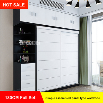4285-5A3 Simple and Modern Home Assembled Panel Wooden Wardrobe Closet Bedroom Furniture 2 Doors Wood Panel Clothes Closet 180CM