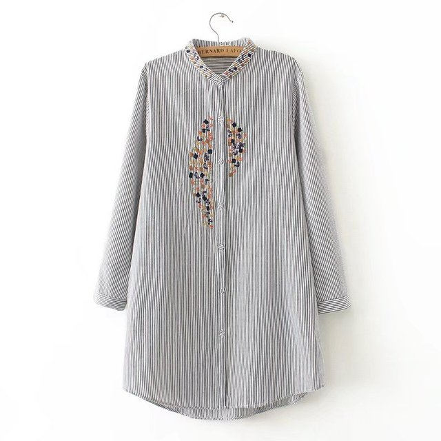 Women elegant plus size top embroidery long shirts striped full cotton long sleeve loose blouse stand collar casual blusas femm