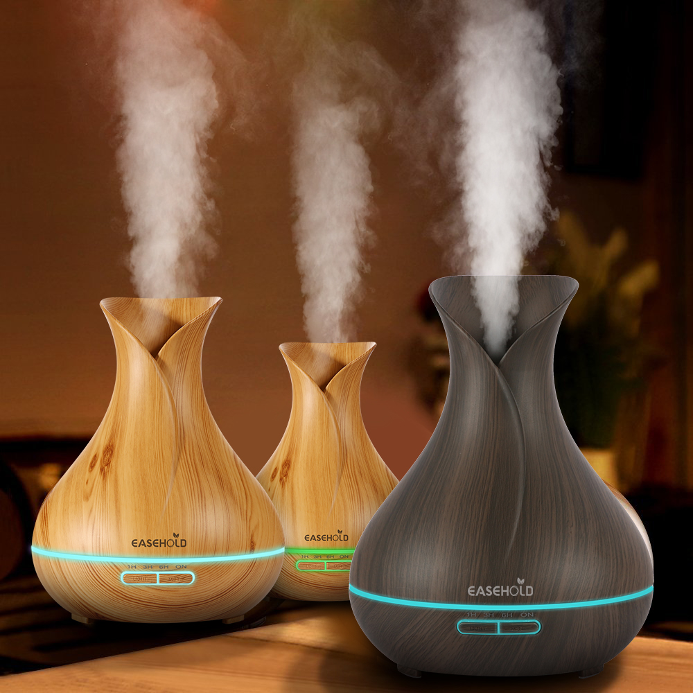 EASEHOLD 400ml Aroma Essential Oil Diffuser Ultrasonic Air Humidifier With Wood Grain 7 Color Changing LED Light Electric Aroma