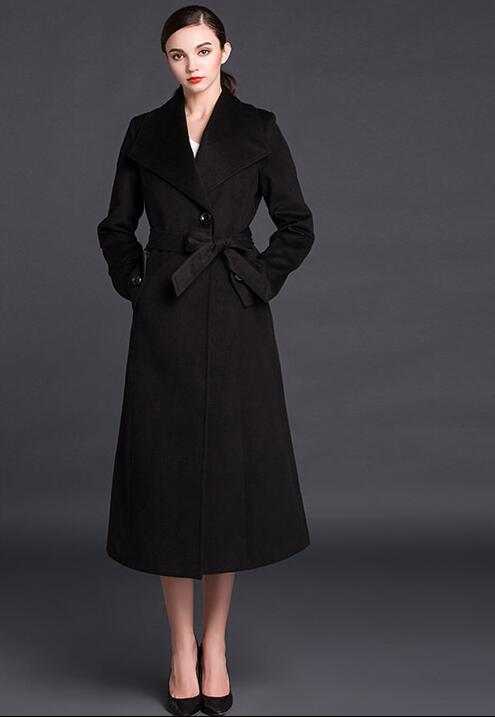 2017 new black long cashmere coats women s wool coat womens winter jackets and coats slim