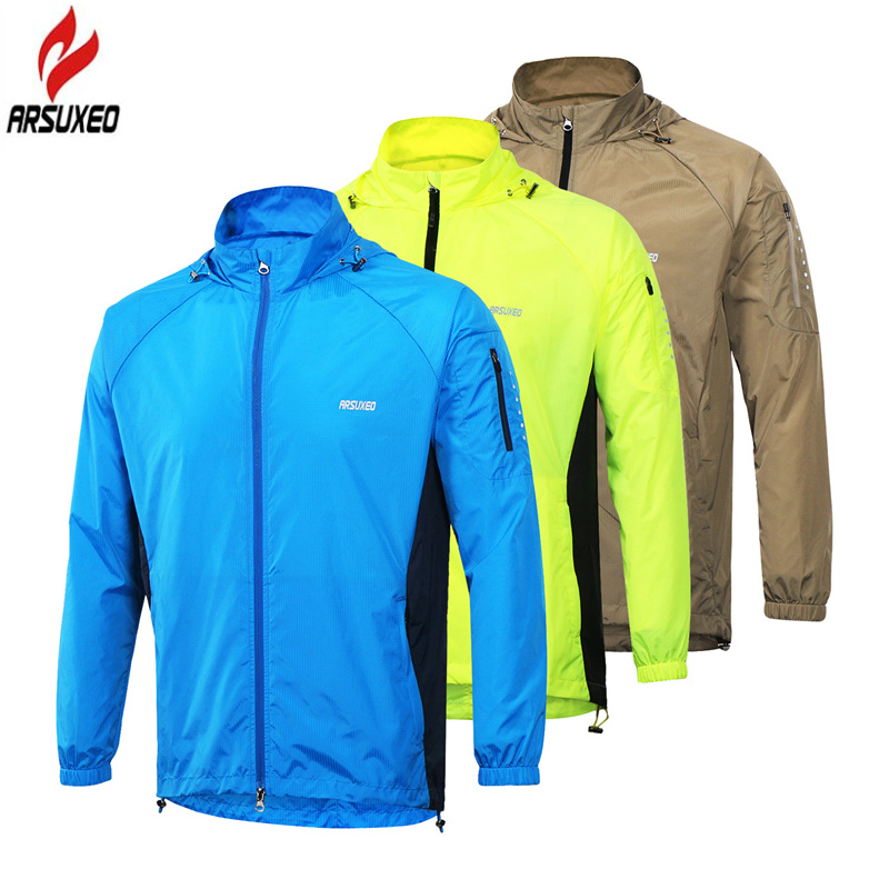 ARSUXEO Men Cycling Jacket Hooded Windproof Waterproof Outdoor Sport Running Jacket MTB Cycling Bike Bicycle Wind Coat Clothing arsuxeo outdoor sports cycling jerseys mtb bike bicycle running jacket men waterproof windproof long sleeve wind coat clothing