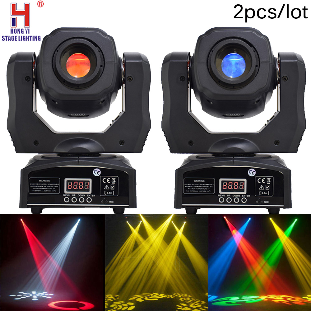 LED mini spot 60w moving head light DMX512 high brightness for dj stage equipment 2PCS LOT