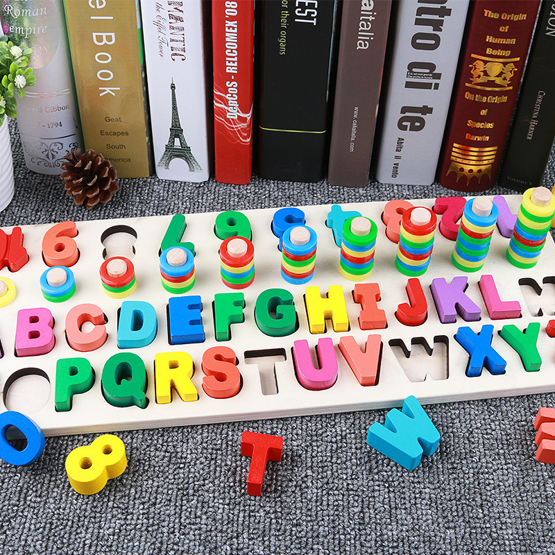 Montessori Jigsaw Wooden Puzzle Toy Developmental Toy Large Educational Match Wooden Tangram Brain Teaser Puzzles For Children