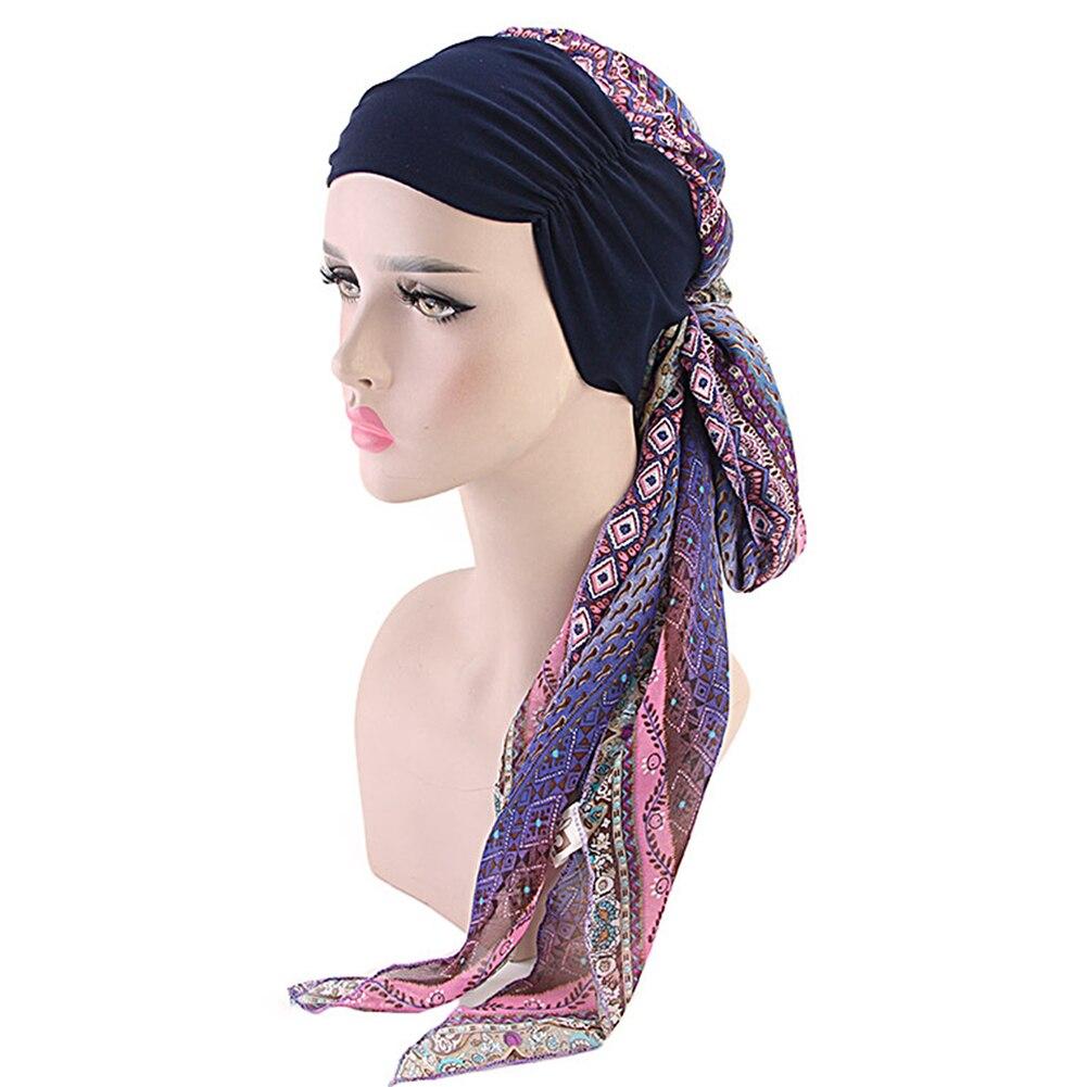Women Scarf Easy Tie Wrap Scarf Chiffon Muslim Hijab Decorative Floral Printed Accessories Long Daily Stretch Chemo Hat