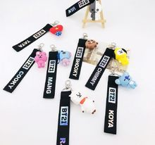 KPOP BTS BT21 Laser Lanyard TATA COOKY SHOOKY Cute Key Chain Mobile Phone Strip Bag Pendant Accessories(China)