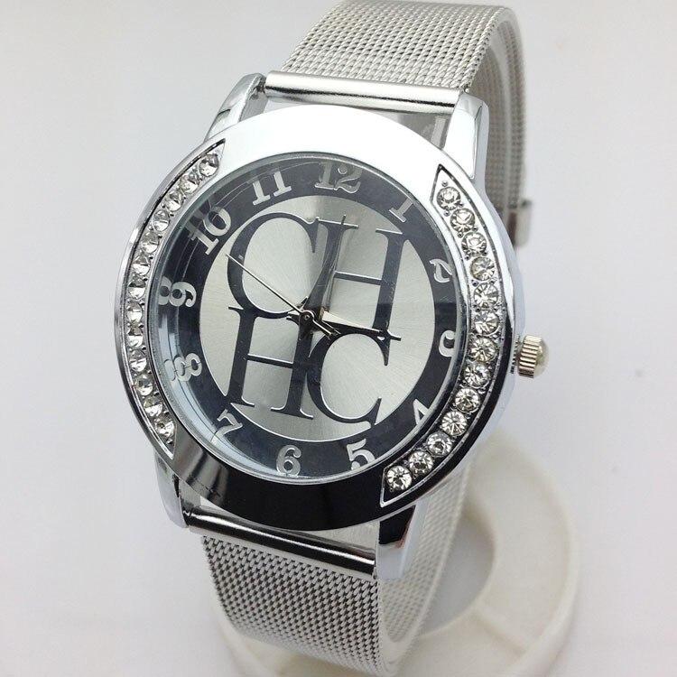 часы для спорта New CH Brands Geneva Crystal Quartz Watch Women Metal Mesh Stainless Steel Dress Watches For Women Reloj Mujer