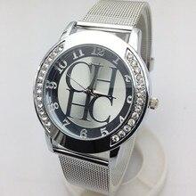 2018 Новый CH брендов Женева кристалл Повседневное кварцевые часы Для женщин металлической сетки Нержавеющаясталь платье часы chasy zhenskiye часы Горячие